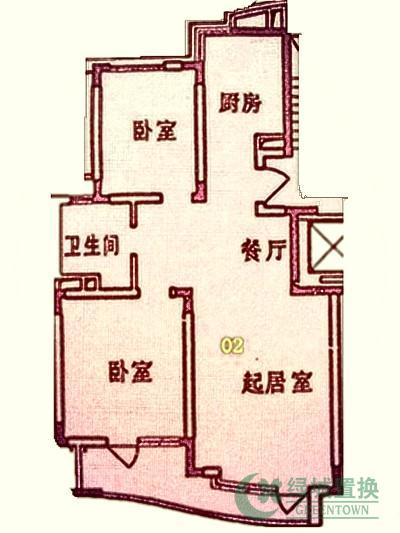 户型:2-2-1(2室2厅1卫),