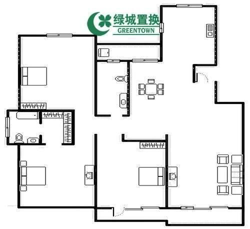 杭州蓝庭花园出租房户型图照片,简装全配  大三房  看房方便